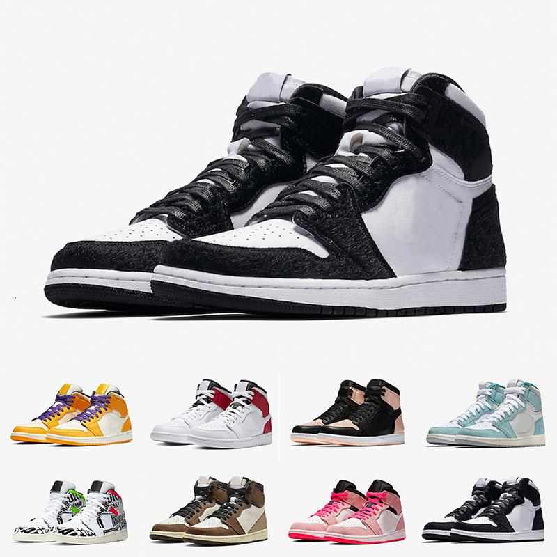 New 1 WMNS Panda Phantom Cactus Jack Taxi Topaz Mist Turbo Green Chicago Board of Governors Basketball Shoes Men Phantom GYM RED Sneakers