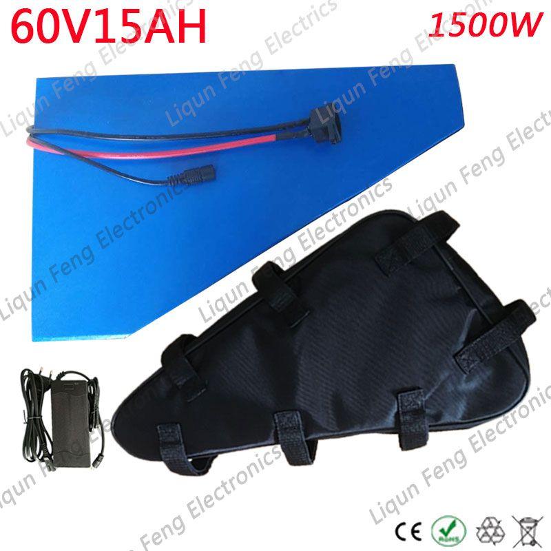 60V Dreieckbatterie 60V 15AH Lithiumbatterie 60V 15AH elektrische Fahrradbatterie mit 30A BMS + 67,2V 2A Ladung + Tasche.