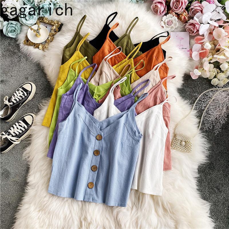 gagarich mulheres sexy colete 2020 estilo Verão New coreano V-neck vestuário exterior lu suo gu Top Feminino solto Bottoming Sling pequeno Vest