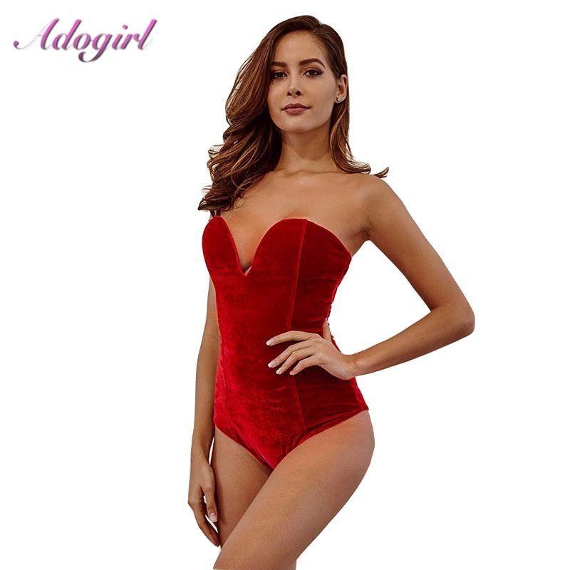 Casual donna senza maniche senza spalline velluto Body Backless sexy scollo a V Bodycon tuta corpo di modo supera i vestiti delle donne del vestito