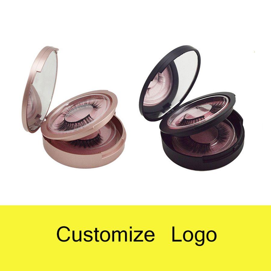 2 pares Logo 3D Mink cílios Individual pestana extensões Privada personalizado Embalagem Box False Eye lash Rodada Boxes