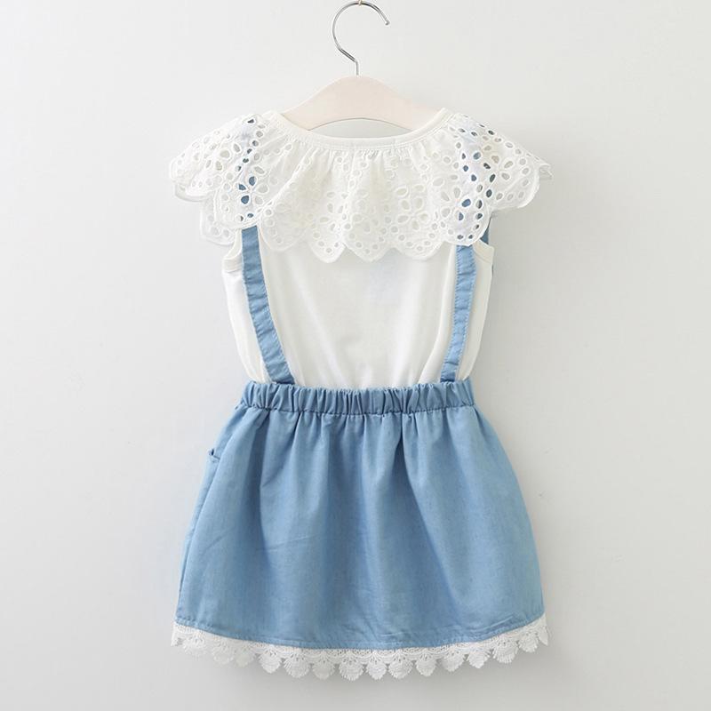 Venta al por menor de bebés niñas falso vestido de liga de dos piezas Nueva moda coreana Collar de pétalos Apliques de encaje Vestidos de algodón Niños Diseño Ropa Ropa