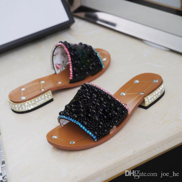الصنادل حار بيع -شمال المرأة حجر الراين المنخفضة للكعب النعال الصيف مصمم العمل لؤلؤة المرأة ملابس والاحذية الكلاسيكية موضة BIG سي