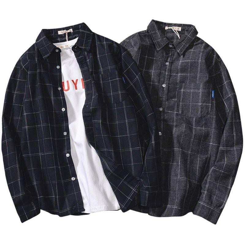 dos homens coreano Plaid shirt Autumn manga comprida masculina de Down Casual solta camisa dos homens Top