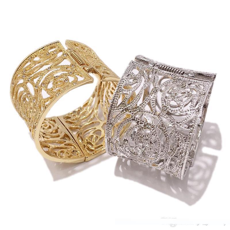 Вся продажа золота способа выдалбливают Циркон женщина браслеты лист цветок браслеты для женщин Punk Браслет подарков Bangles ювелирные изделия