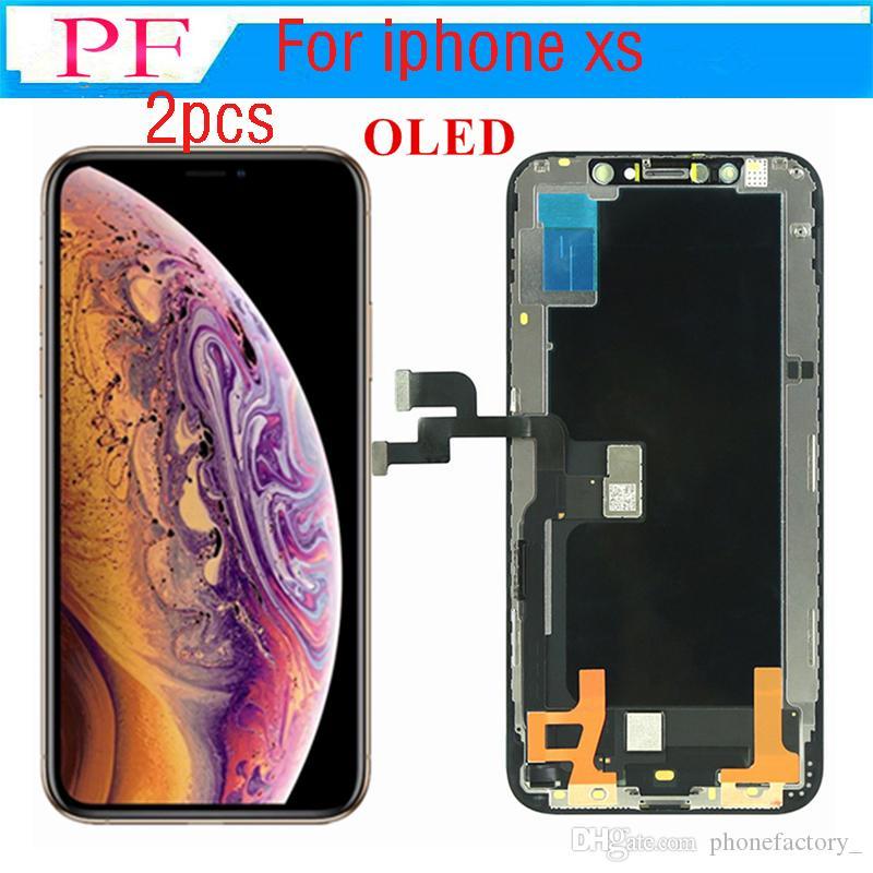 2 adet Sınıf A + + + iPhone Için OEM OLED LCD Ekran XS Dokunmatik Digitizer Ekran Komple Meclisi Yedek Parçalar Ücretsiz Araçlar ile DHL Kargo