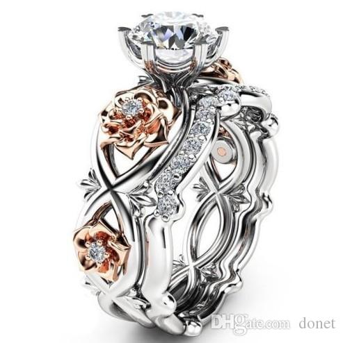 Silver Plated 2pcs Set Crystal Wedding Rings Lovers Gifts Rhinestone Rings for Women Rose Flower Ring