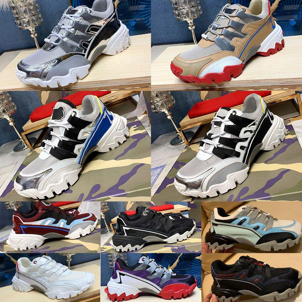 Бесплатная доставка DHL 20SS Mens конструктора Альпинисты тапки из кожи и ткани ЗЕРКАЛО-ЭФФЕКТ Роскошные дизайнерские туфли мужчины женщины с коробкой