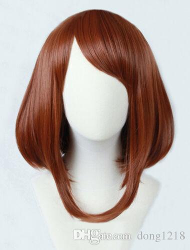 Anime meu herói academia ochako urraraka short brown bobo cosplay peruca + pista + tampa