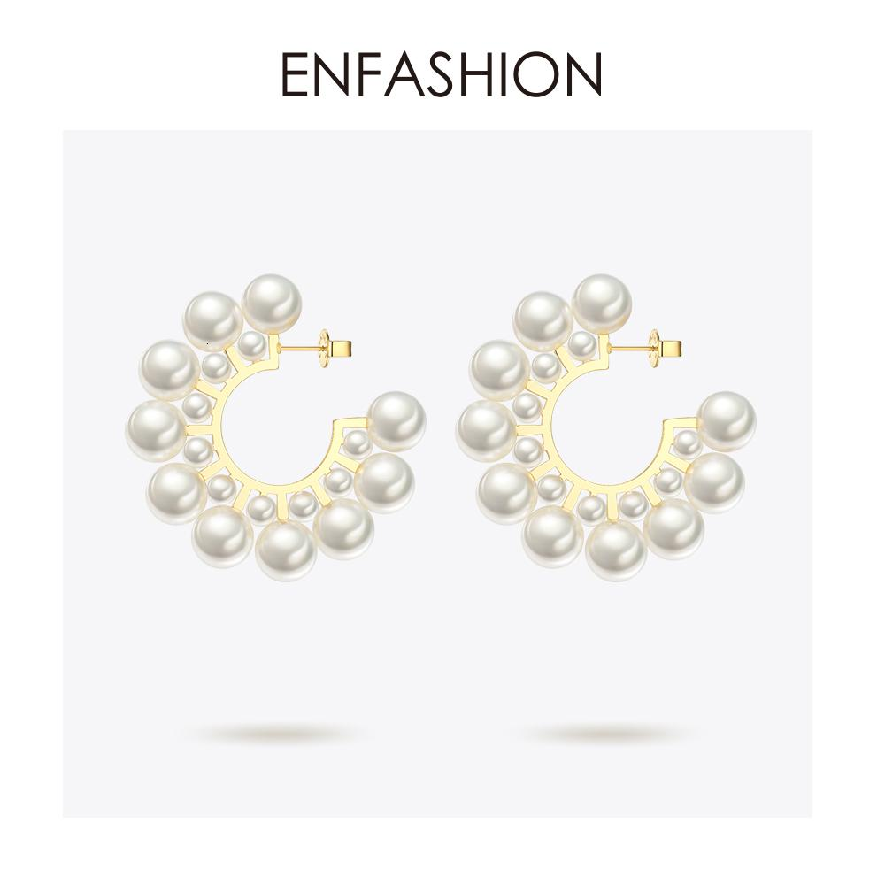 Enfashion Pearl Hoop Earrings For Women Gold Color Round Earring Big Circle Hoops Earings Fashion Jewelry Pendientes Aros EB1094 V191213