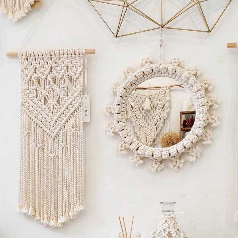 مرآة بوهيميا نمط الإبداعية الجدار شنقا مرآة ديكور المنزل الأزياء الحديثة الفن الديكور الغرور ماكياج مرآة النهاية لغرفة النوم الحمام
