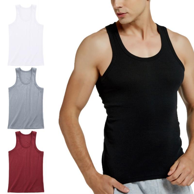 Carro armato del cotone Tops Intimo Uomo Undershirt camice trasparenti Maschio Bodyshaper fitness Wrestling Singlets Vest solido di colore