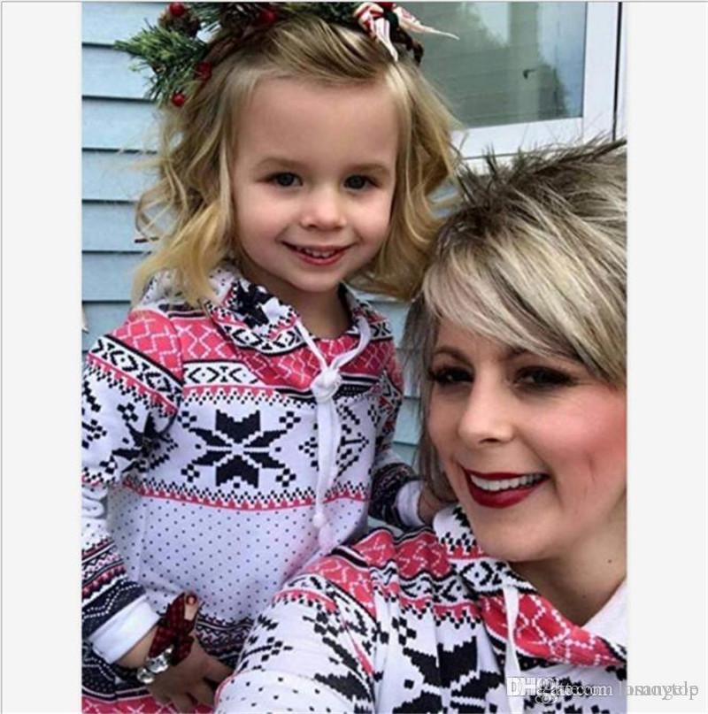 Otoño de Navidad Digital Impreso sudaderas con capucha de las mujeres ocasionales de la familia sudaderas con capucha informal de Padres de Niños con capucha Ropa