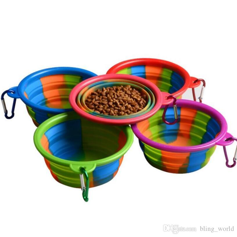 Camouflage Silicone Folding Bowl with hook Pet Feeding Bowl Dog Cat Travel Collapsible Water Dish Feeder Foldable Outdoor YSY283