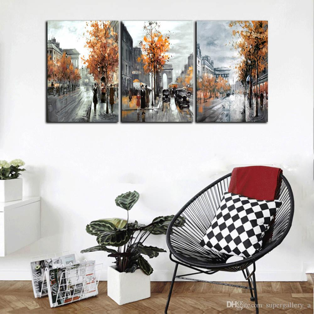 Street View in Autumn,Framed 3 Panel Wall Art Oil painting Home Decor Modern Wall Decor Landscape Art Oil Painting On Canvas