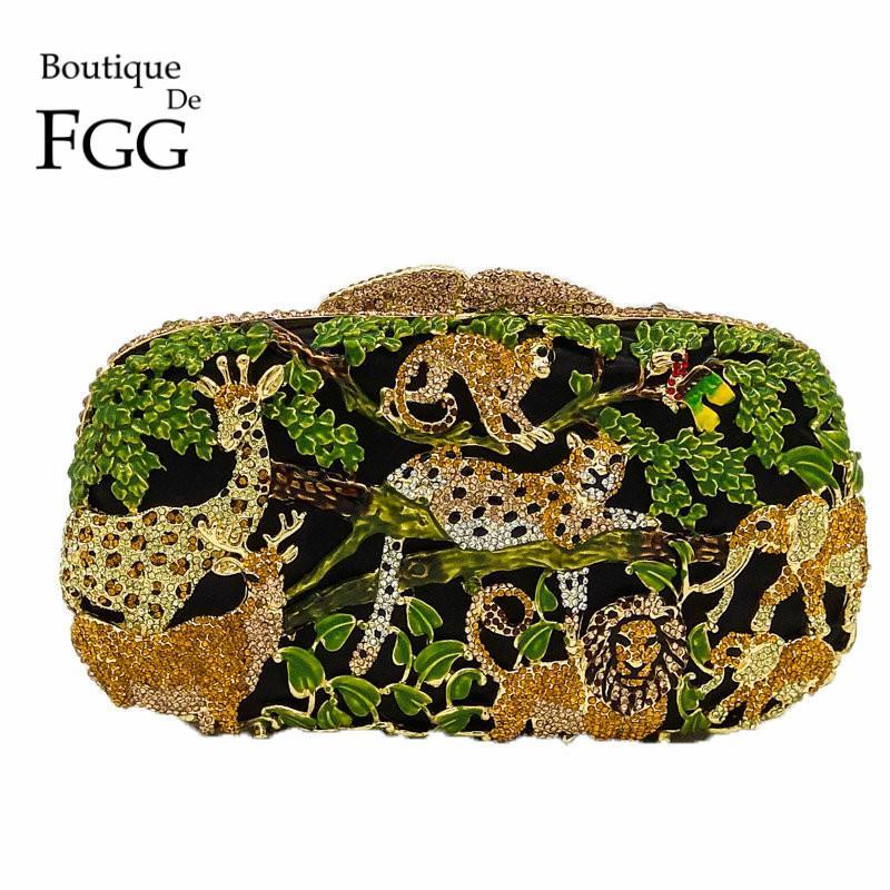 Boutique De FGG Regen-Wald-Dschungel-Frauen-Kristalltier Zoo Abendtaschen Damen Diamant-Partei-Handtasche Braut Hochzeit Clutch-Bag CJ191210