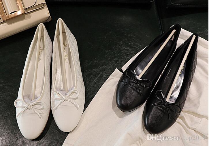 Frauen Ballett Bogen Wohnungen Frühling Sommer Art und Weise klassische Diamant-Bogen Bankett runde reale echtes Leder-flache weiche nette OL beiläufige Schuhe Kopf
