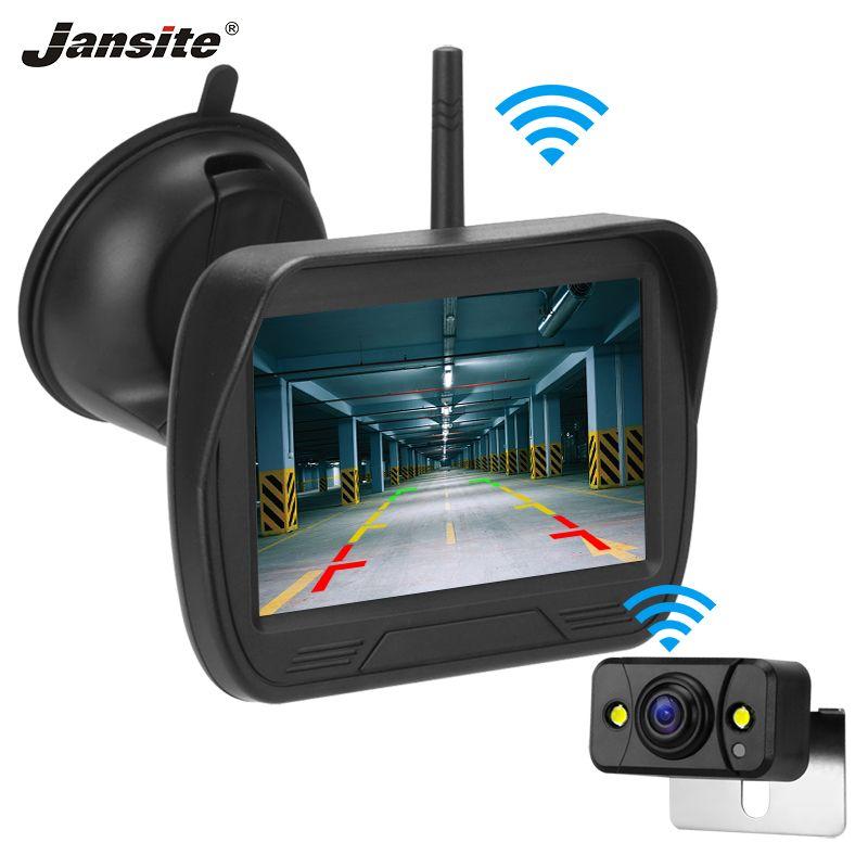 """Jansite 4.3"""" coche sin hilos del monitor de la cámara de visión trasera para la cámara de visión trasera del estacionamiento Sistema de visión Noche de copia de seguridad a prueba de agua"""