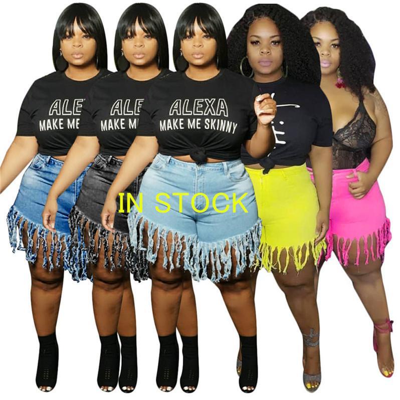2020 L-4XL donne di estate brevi nappa jeans denim lavato pantaloncini a vita alta jeans alla moda Vintage Ragazze Shorts Jeans Skinny Pants D6907