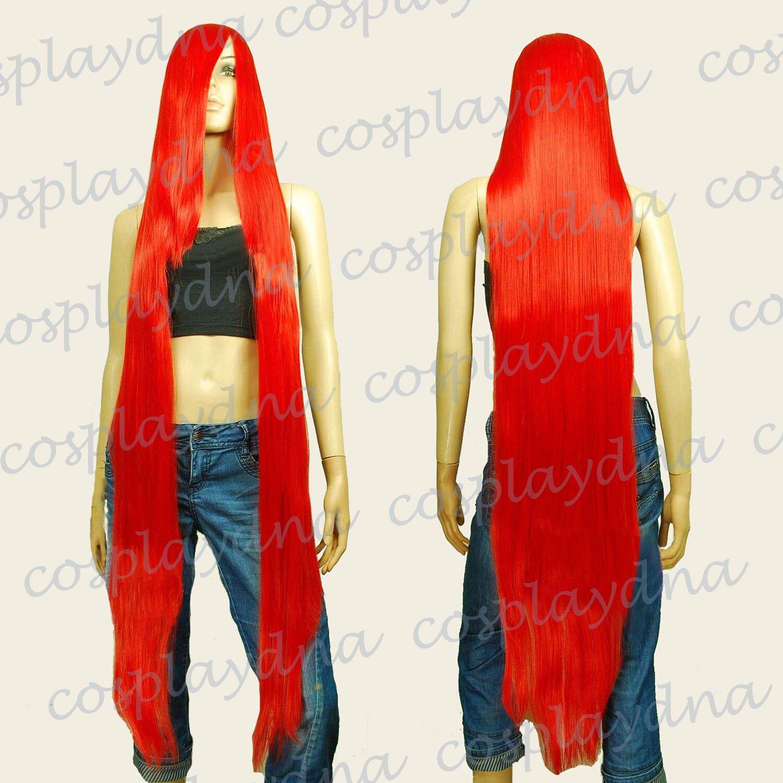 "Parrucca cosplay lunga rettilineo blu bianco dritto 2pcs parrucca 50cm 50 ""Parrucche lunghe rettilinee resistenti al calore w 22"" Bangs lunghi parrucca rossa Cosplay 99RED"