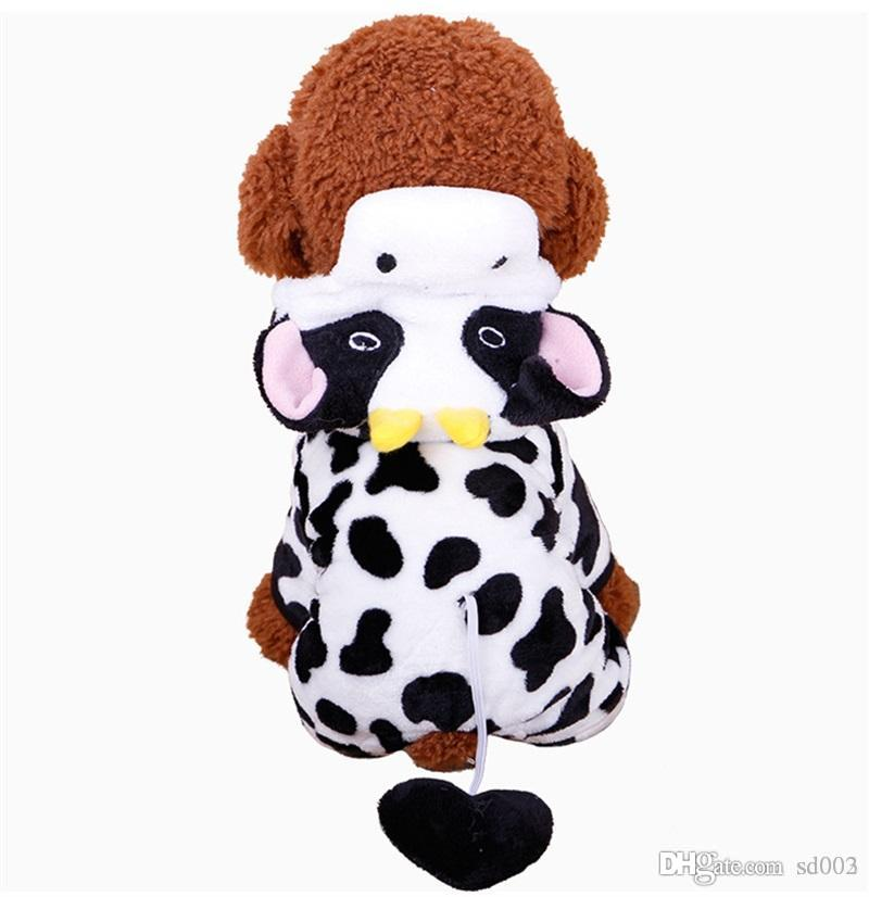 Coral Velvet Four Feet Doggy Clothes Panda Add Villus Pets Apparel Hooded Cap Dog Sweater Autumn And Winter Wear Poodle Lovely 10 4mdb1