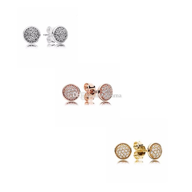 Logo timbre 18K Rosegold Boucles d'oreilles boîte originale pour Pandora 925 Argent réel Cristal CZ Pave Set Boucles d'oreilles pour les cadeaux de bijoux Femmes Mode
