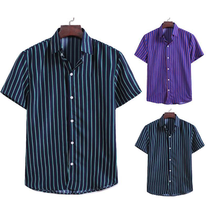 الرجال عارضة القمصان الأزياء مخطط المطبوعة الصيف بأكمام قصيرة قميص مريح hombre 2021 زر هاواي يتأهل camisas