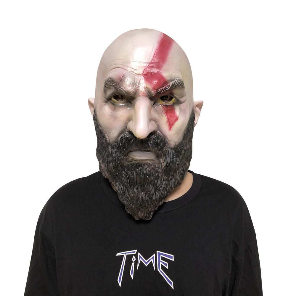Jogo God Of War 4 Máscara com barba Cosplay Kratos Máscaras Horror Latex Capacete de Halloween assustador do partido Props New 2018 T200622