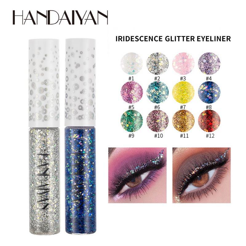 Handaiyan Liquid Eyeliner schwere Flüssigkeit Lidschatten 12 Farbe für Option Fantasiewelt, Glänzend Makeup Glitter Eye Liner