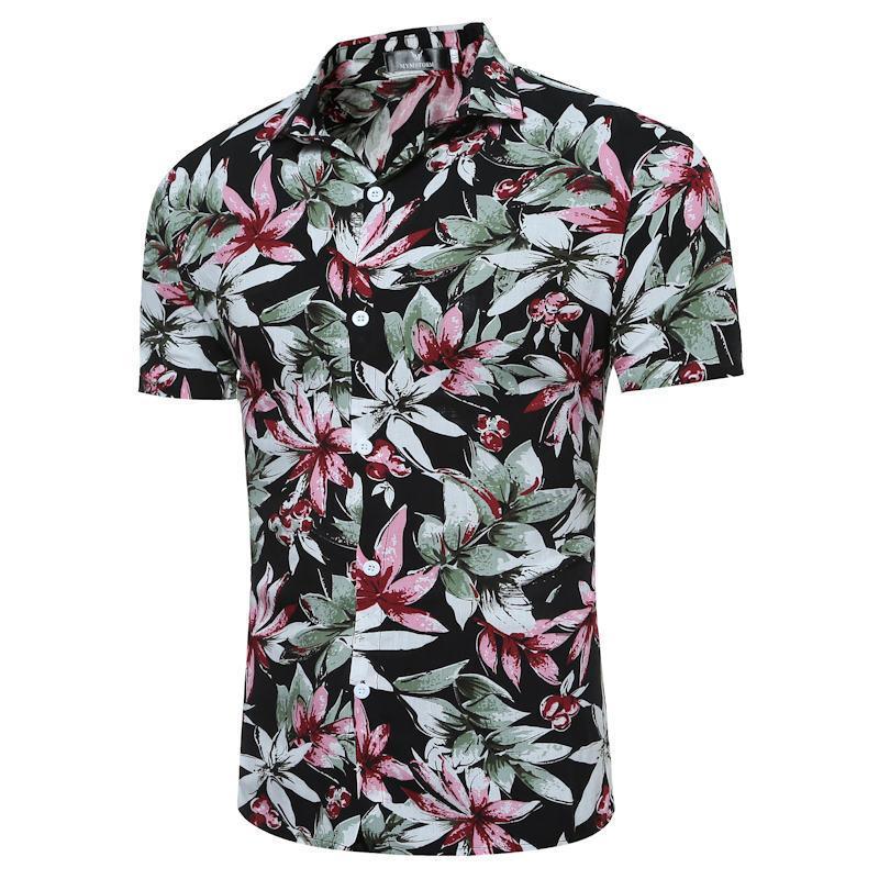 Asya Erkekler Boyut M-4XL 10 Renkler için 2018 Moda Erkek Kısa Kollu Casual Gömlek Hawaii Yaz Çiçek Gömlek