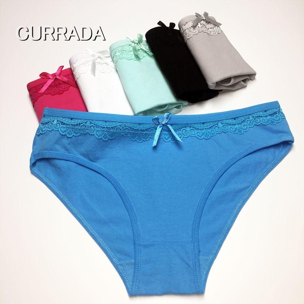 CURRADA Sexy höschen baumwolle frauen underwear low waiste briefs weibliche underpant olid panty mujer Intimates damenmädchen 5pc / lot