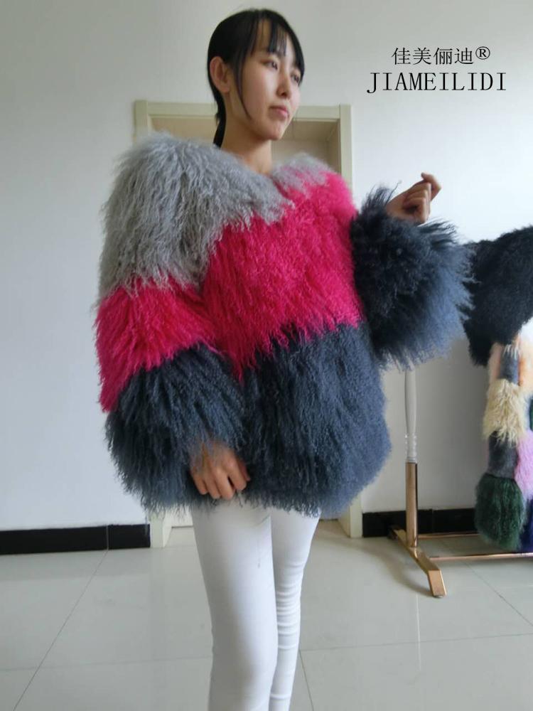 المرأة العصرية الصوف الشاطئ الفراء معطف قصير تصميم المنغولية الأغنام الفراء معطف سترة الإناث ملابس الشتاء