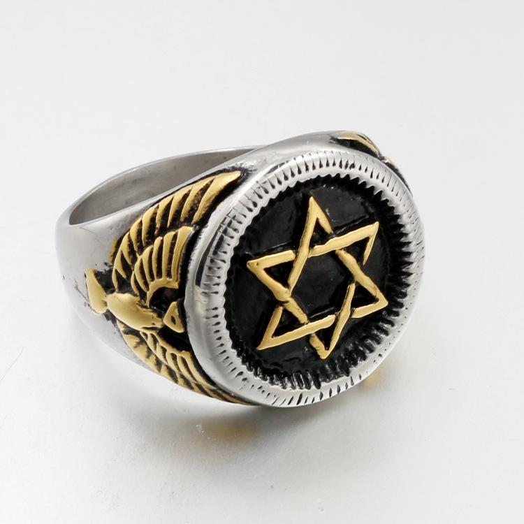 2020 neue populäre europäische und amerikanische Armee Ring Männer und Frauen Paar Titanium Edelstahl-Ring sechszackigen Stern Eagle Kopf Hand mit Je