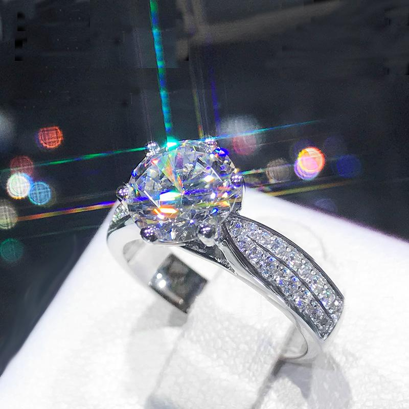 Luxury 1.0ct 6.5MM Zircon CZ Rings Original 925 Sterling Silver Engagement Wedding Ring Jewelry Bride Gift for Women XR377