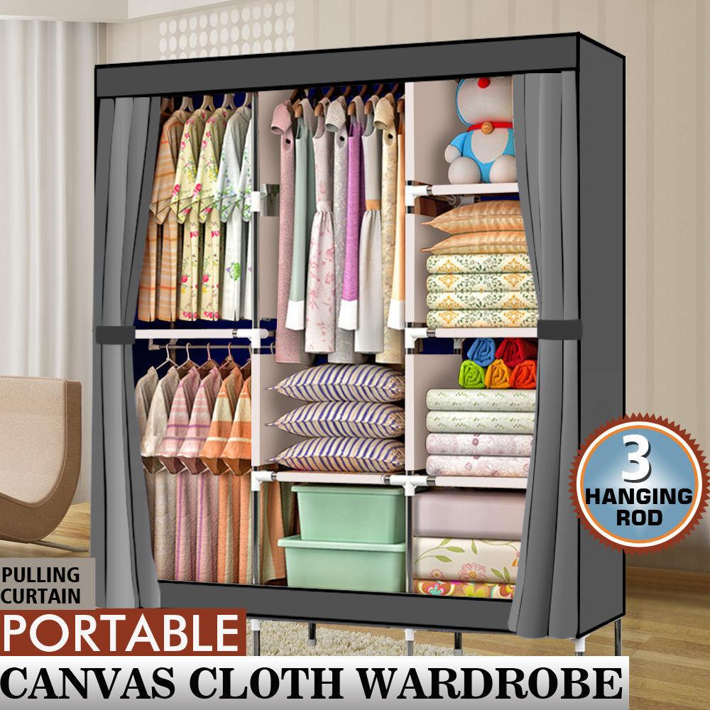 71inches Portable Closet Wardrobe Clothes Rack Storage Organizer with Shelf Gray Color