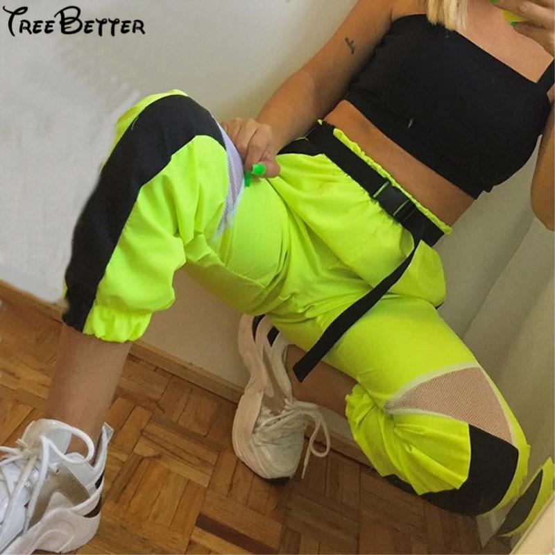 Mesh neon verde a vita alta trasparenti pantaloni Streetwear Cargo donna legging allentata Jogger Split Streetwear Pantaloni sportivi da donna