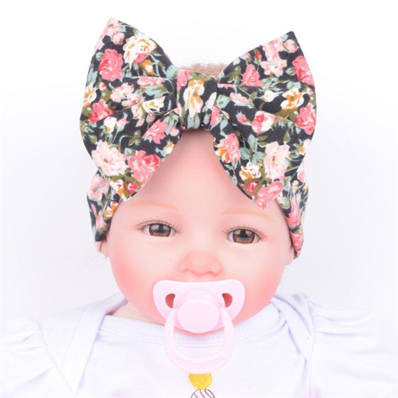 Baby-Stirnband-Blumen-Baby-Kind-Kind-Mädchen Bowknot Hair Turban Bowknot Headwrap Haarreif Drucken Süss Turban