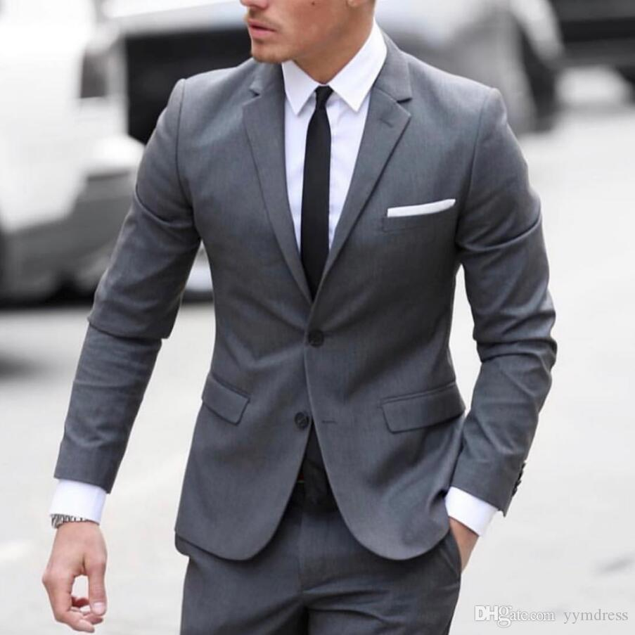 Bonito Cinza Do Noivo Smoking Ternos Dos Homens Custom Made Terno Formal para Homens Casamento Smoking (Jacket + Gravata + Colete + Calças)