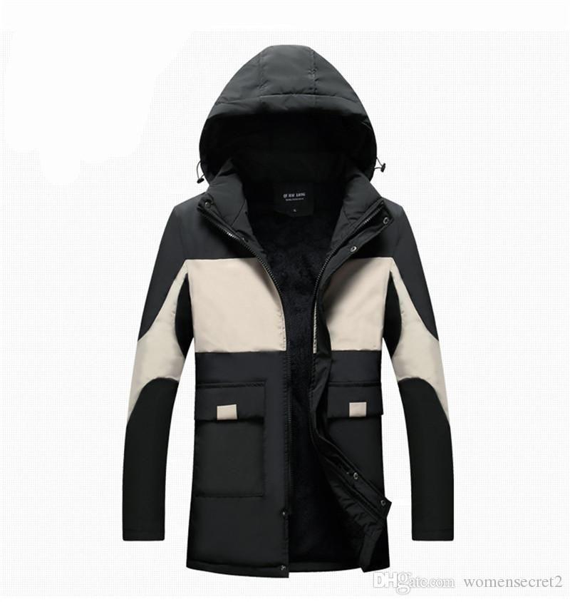 Winter Mens Designer dicke Daunen beiläufig plus Samt mit Kapuze Oberbekleidung Herren Panelled Langarm-lose Mäntel