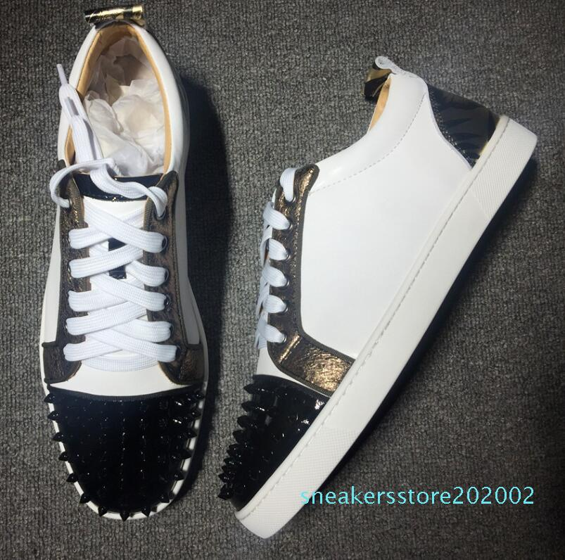 2019 Marca Designer Luxo Mens Red Bottoms Shoes Studded Spikes Baixa Flats Sneakers casual para homens Wedding Party Dress Leather