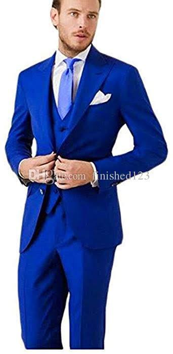 Marka Yeni İki Düğmeler Kraliyet Mavi Düğün Damat Smokin Tepe Yaka Groomsmen Erkekler Suits Balo Blazer (Ceket + Pantolon + Yelek + Kravat) No: 2097