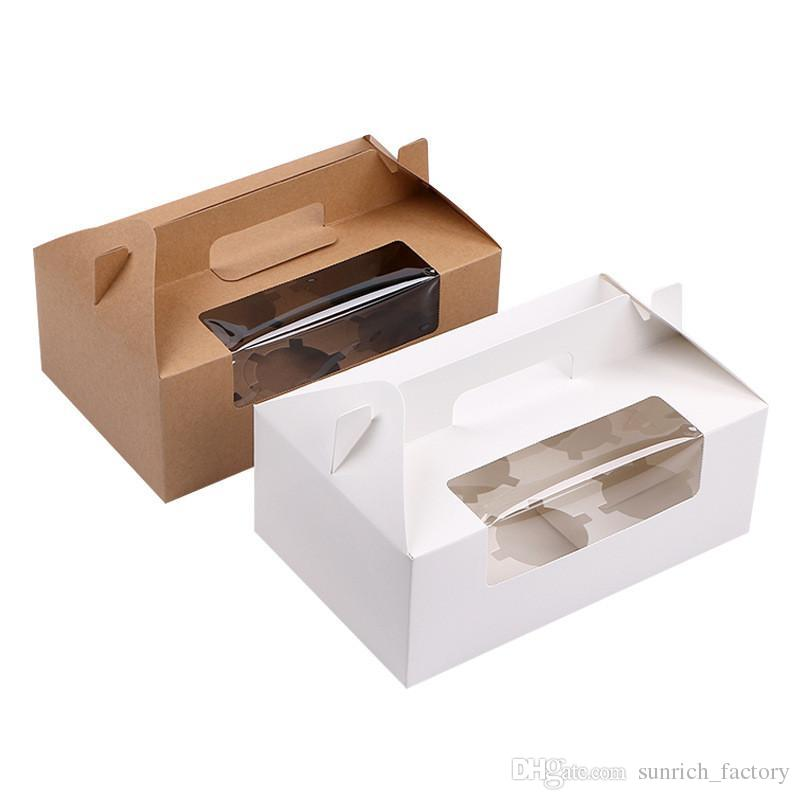 500pcs/lot Brown/White 6 Cupcake box Kraft paper cake boxes and packaging with handle Wedding gift box Packaging box