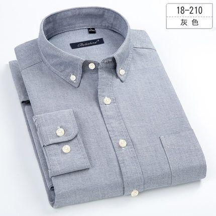Plus Size 5xl 6xl 7xl 8xl Oxford Pure Color Casual Long Sleeve Men Shirt Soft Business Social Dress Shirt Blue White Grey Y190506