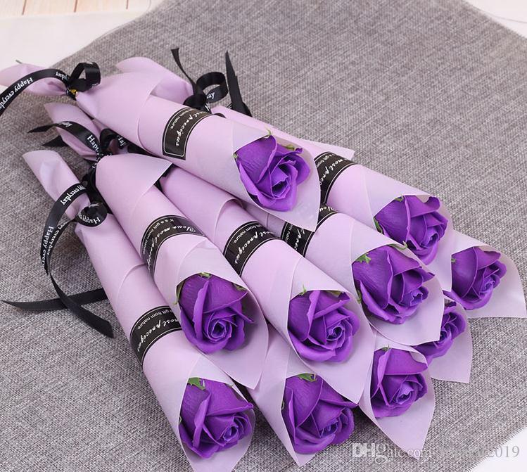 Single Stem künstliche Rose duftende Bad Seife Rose Seife Blumenstrauß für Hochzeit Valentinstag Mütter Tag Lehrer Tag Geschenk SN2021