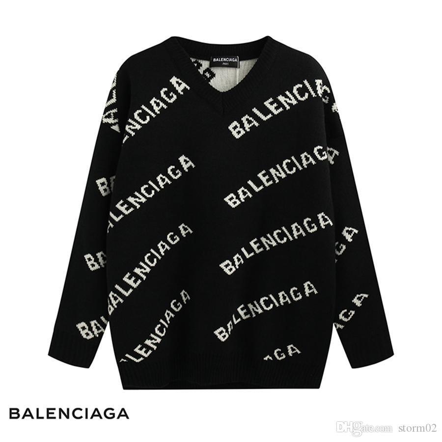 Neue Design Luxusmarke schwarze Pullover Mode lange Ärmel Alphabet Druck Herbst Winter Herren-Kaschmir-Pullover Freies Verschiffen