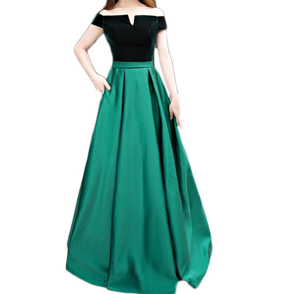 Abiti Da Cerimonia On Line.Boat Neck Velvet Satin A Line Long Formal Dresses Emerald Green