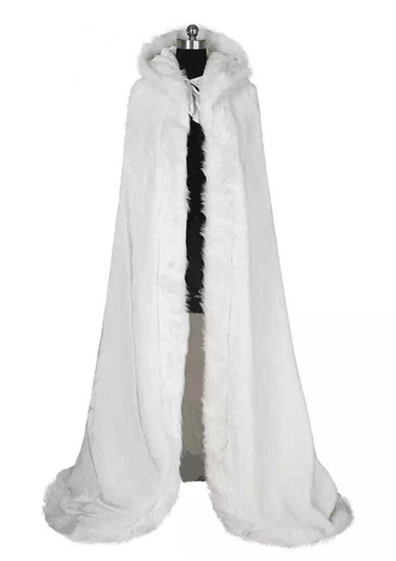2020 Zarif Ucuz Sıcak Gelin Cape Beyaz Kış Kürk Kadın Ceket Gelin Kat Süre Cloaks Düğün Coat AL84