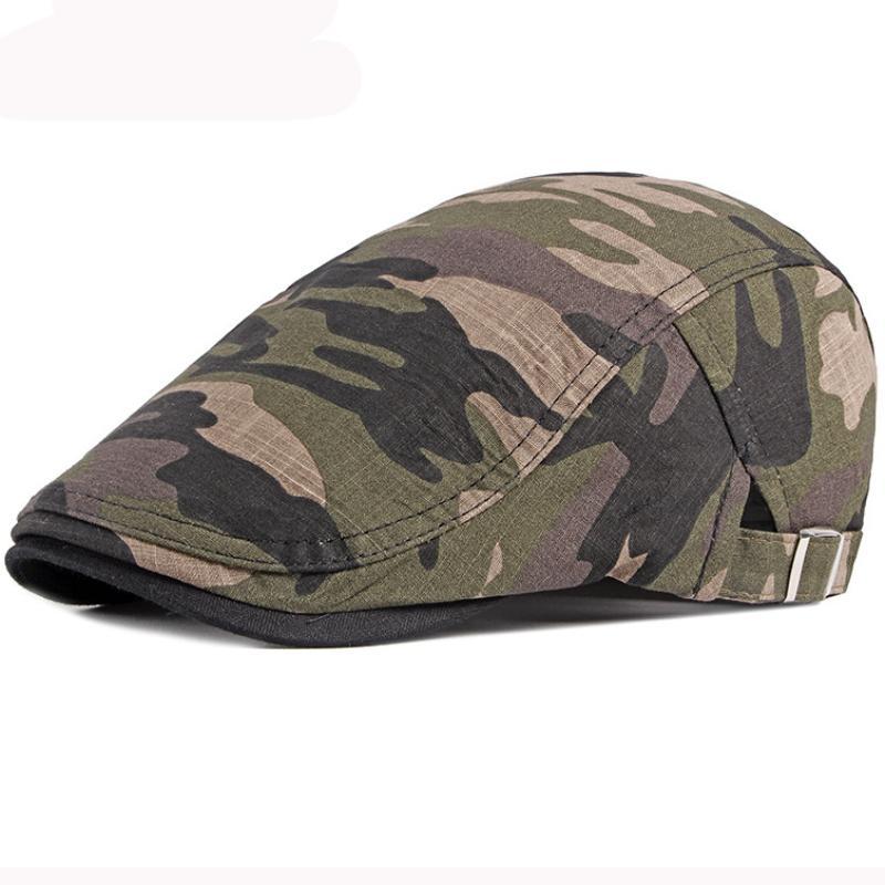 HT3011 Beret Cap Men Spring Summer Camouflage Army Capt Cotton Adjustable Beret Hat Vintage Newsboy