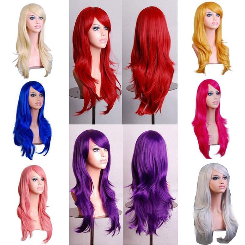 70cm suelta la onda pelucas sintéticas de rosa rojo de las mujeres Peluca de Rubio Azul Cabello gris púrpura para el partido humana para regalo de Navidad de Halloween