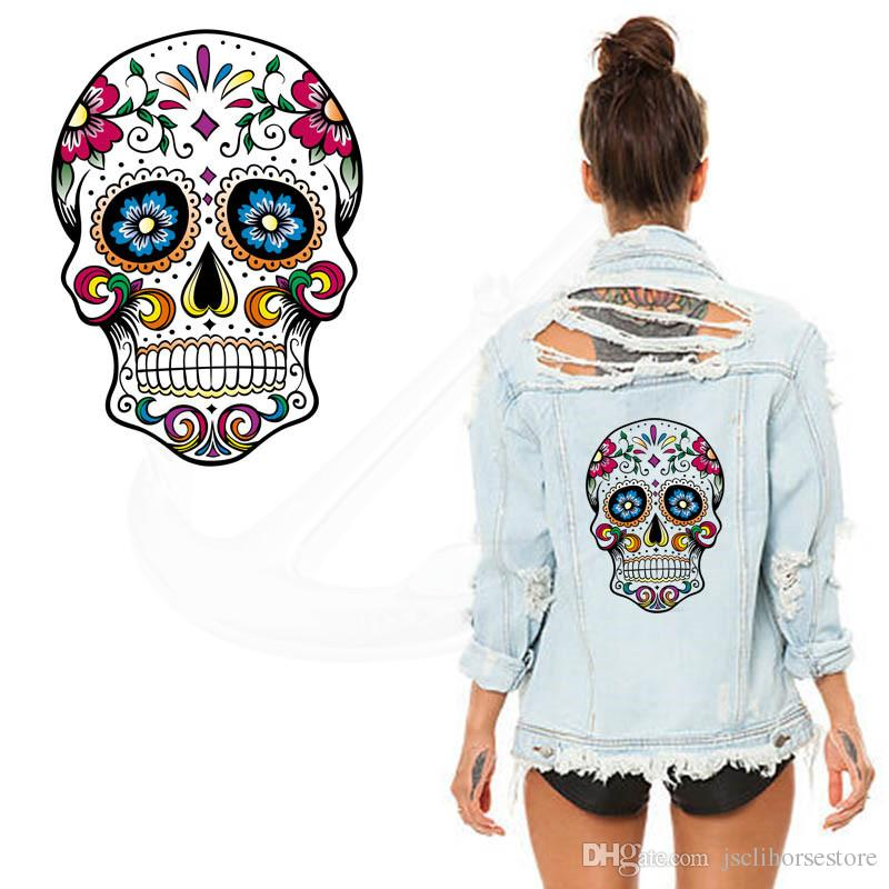 Hot Flower skull 26*19CM patches for clothing A-level Washable Stickers T-shirt Dresses Sweater iron on patches